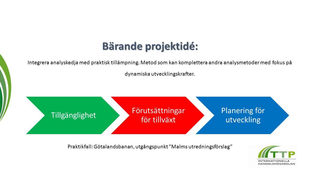 Bärande projektidé: Integrera analyskedja med praktisk tillämpning.