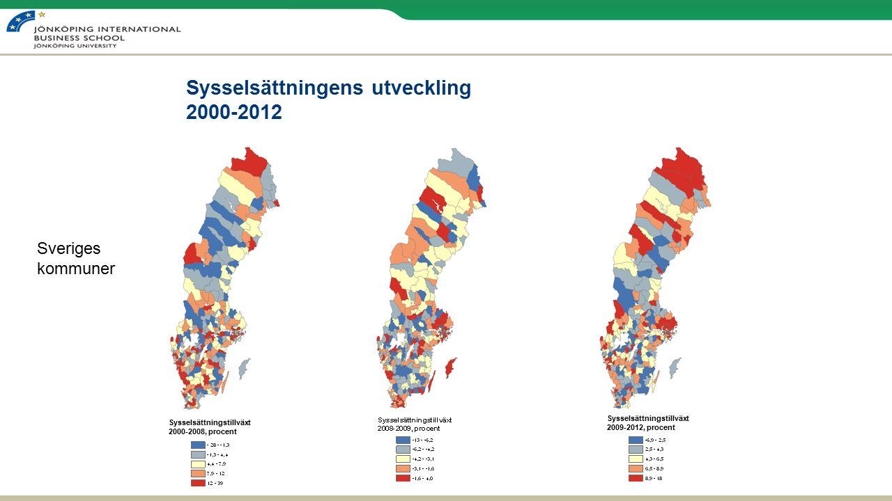 Sysselsättningens utveckling 2000-2012 Sysselsättningstillväxt 2009-2012, procent Sysselsättningstillväxt 2000-2008, procent Sveriges kommuner