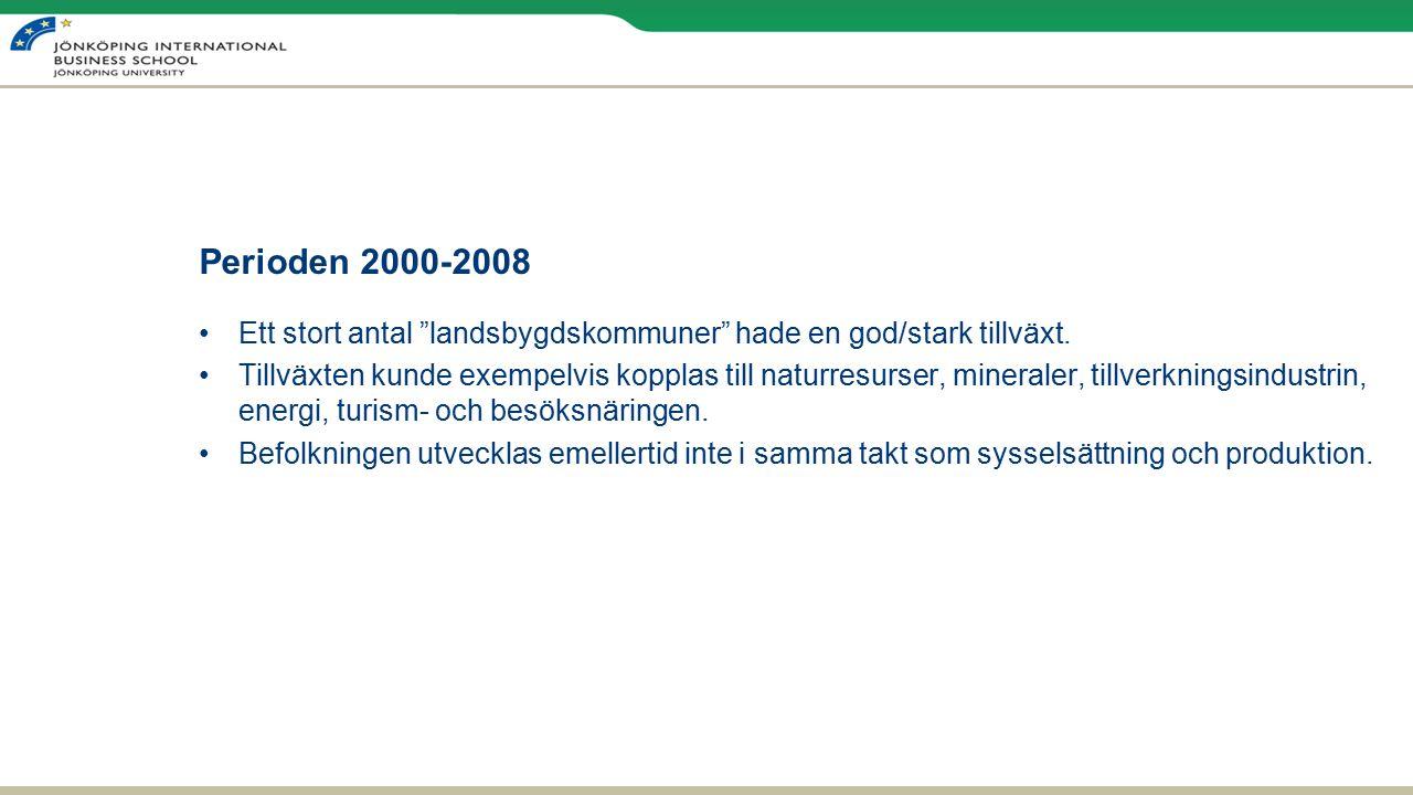 Perioden 2000-2008 Ett stort antal landsbygdskommuner hade en god/stark tillväxt.