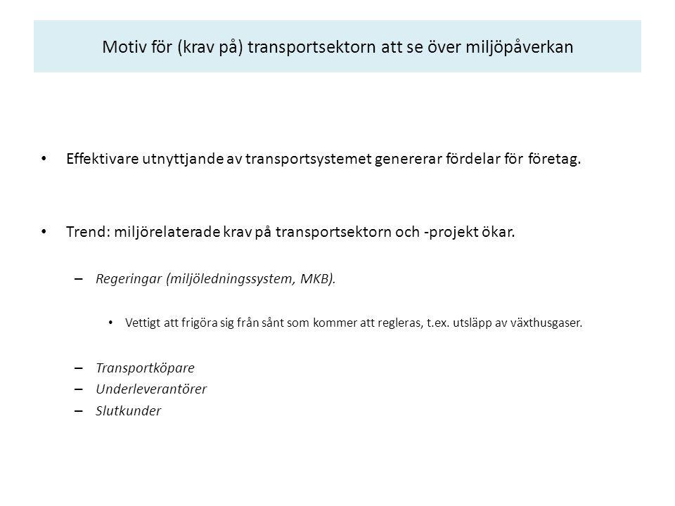 Motiv för (krav på) transportsektorn att se över miljöpåverkan Effektivare utnyttjande av transportsystemet genererar fördelar för företag.