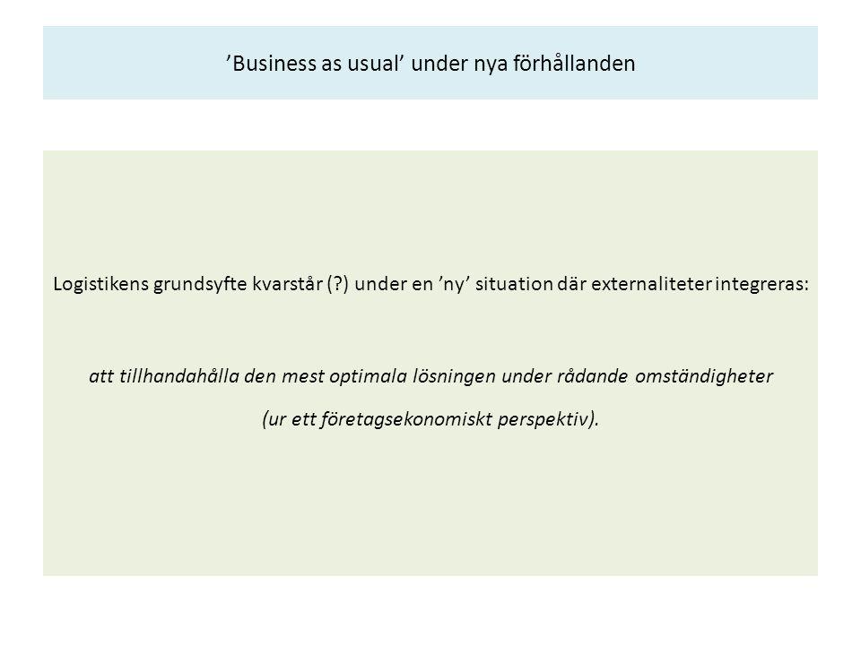 'Business as usual' under nya förhållanden Logistikens grundsyfte kvarstår (?) under en 'ny' situation där externaliteter integreras: att tillhandahål
