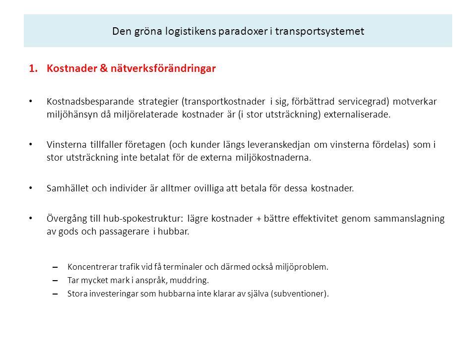 Den gröna logistikens paradoxer i transportsystemet 1.Kostnader & nätverksförändringar Kostnadsbesparande strategier (transportkostnader i sig, förbät