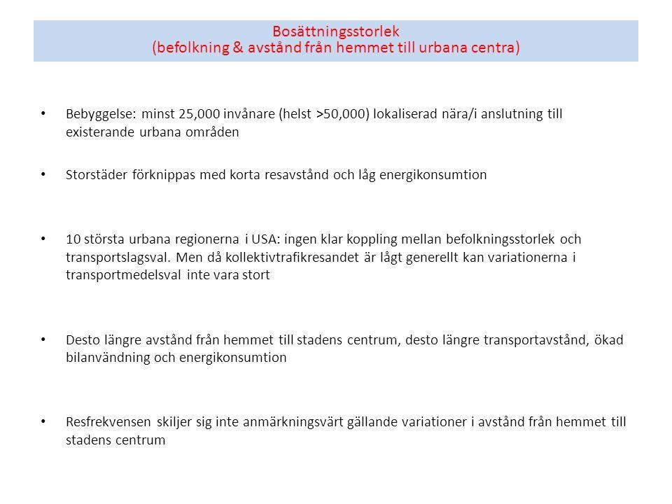 Bosättningsstorlek (befolkning & avstånd från hemmet till urbana centra) Bebyggelse: minst 25,000 invånare (helst >50,000) lokaliserad nära/i anslutni