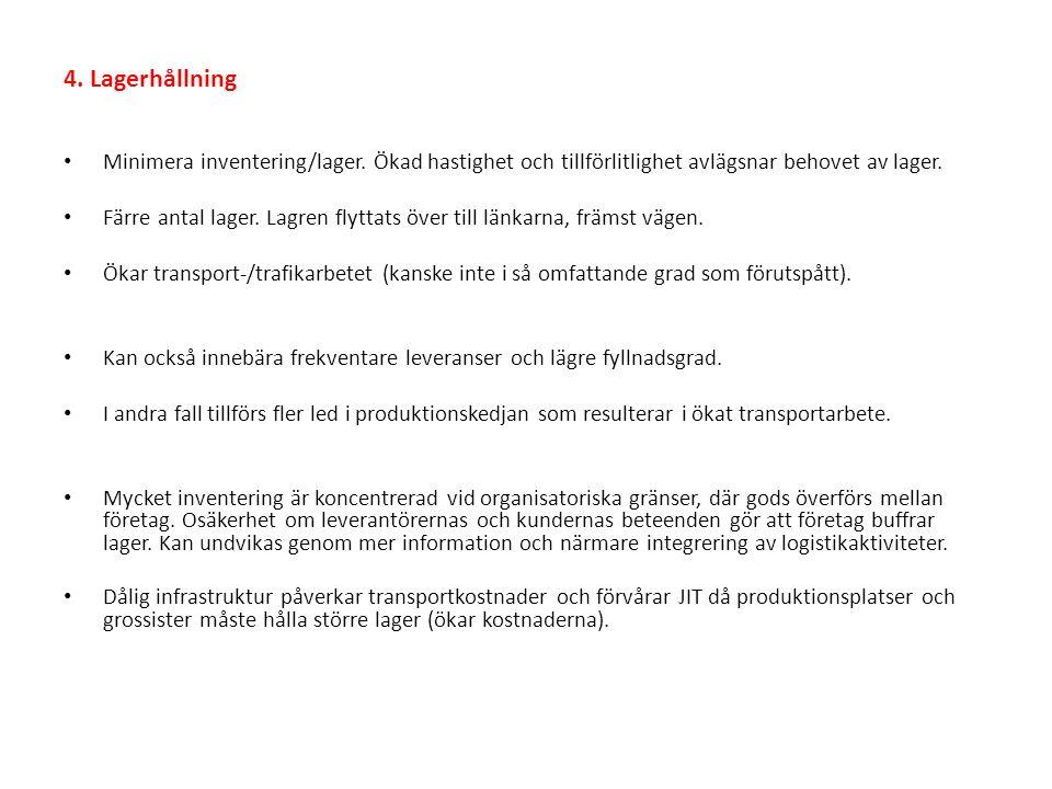 4.Lagerhållning Minimera inventering/lager.