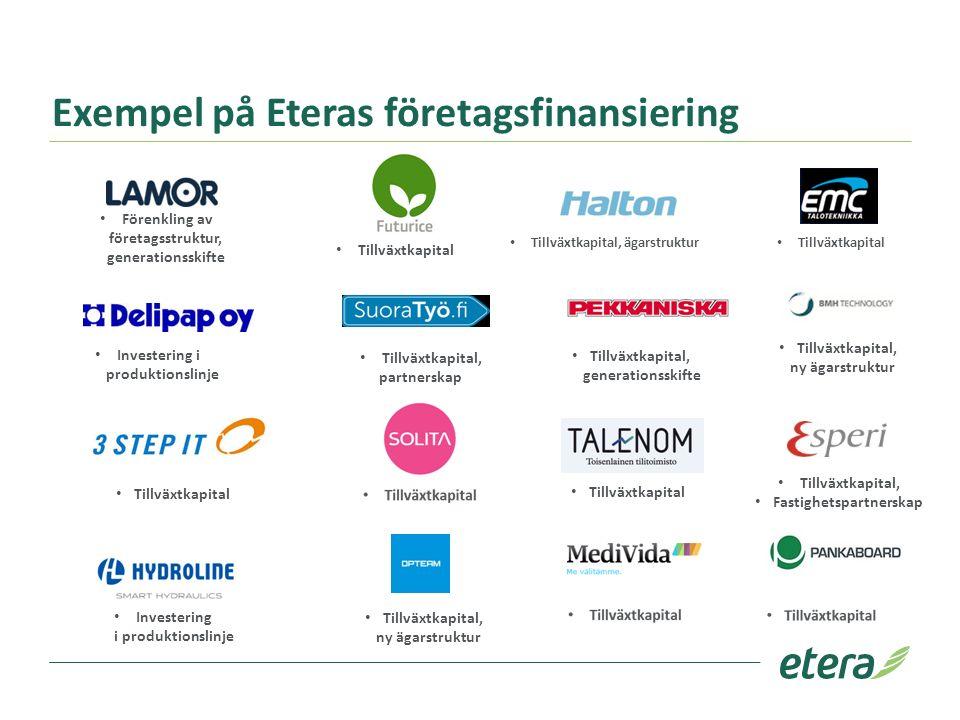 Exempel på Eteras företagsfinansiering Förenkling av företagsstruktur, generationsskifte Tillväxtkapital Tillväxtkapital, ägarstruktur Investering i p