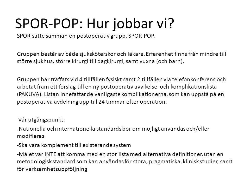 SPOR-POP: Hur jobbar vi. SPOR satte samman en postoperativ grupp, SPOR-POP.