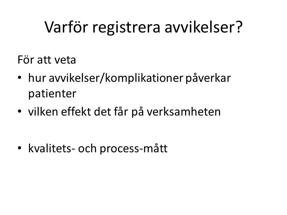 Varför registrera avvikelser.