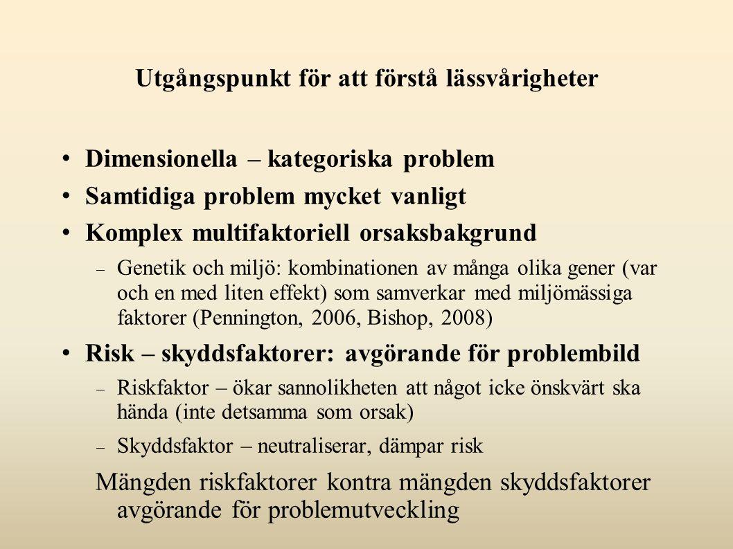 Utgångspunkt för att förstå lässvårigheter Dimensionella – kategoriska problem Samtidiga problem mycket vanligt Komplex multifaktoriell orsaksbakgrund  Genetik och miljö: kombinationen av många olika gener (var och en med liten effekt) som samverkar med miljömässiga faktorer (Pennington, 2006, Bishop, 2008) Risk – skyddsfaktorer: avgörande för problembild  Riskfaktor – ökar sannolikheten att något icke önskvärt ska hända (inte detsamma som orsak)  Skyddsfaktor – neutraliserar, dämpar risk Mängden riskfaktorer kontra mängden skyddsfaktorer avgörande för problemutveckling
