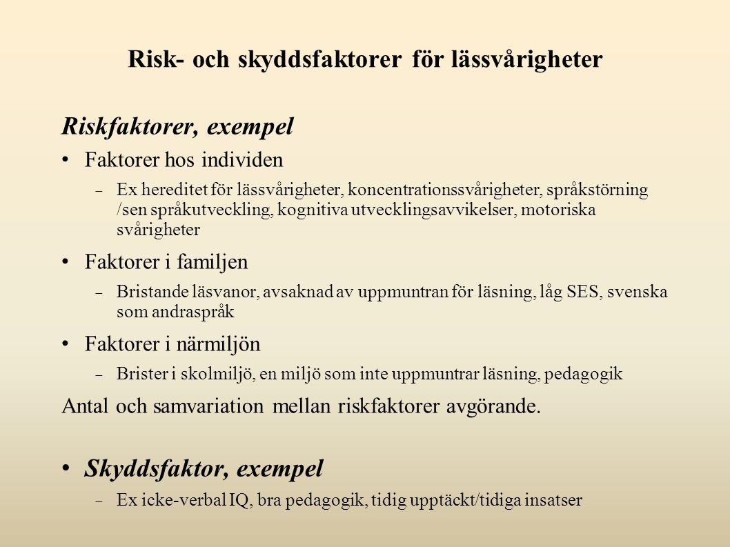 Risk- och skyddsfaktorer för lässvårigheter Riskfaktorer, exempel Faktorer hos individen  Ex hereditet för lässvårigheter, koncentrationssvårigheter, språkstörning /sen språkutveckling, kognitiva utvecklingsavvikelser, motoriska svårigheter Faktorer i familjen  Bristande läsvanor, avsaknad av uppmuntran för läsning, låg SES, svenska som andraspråk Faktorer i närmiljön  Brister i skolmiljö, en miljö som inte uppmuntrar läsning, pedagogik Antal och samvariation mellan riskfaktorer avgörande.