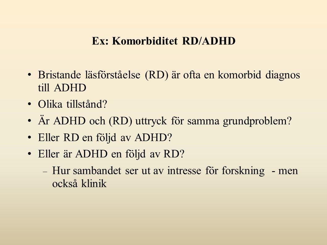 Ex: Komorbiditet RD/ADHD Bristande läsförståelse (RD) är ofta en komorbid diagnos till ADHD Olika tillstånd.