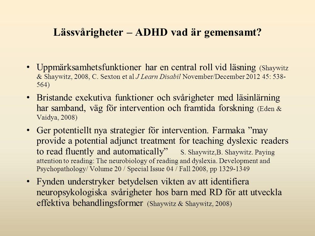 Lässvårigheter – ADHD vad är gemensamt.