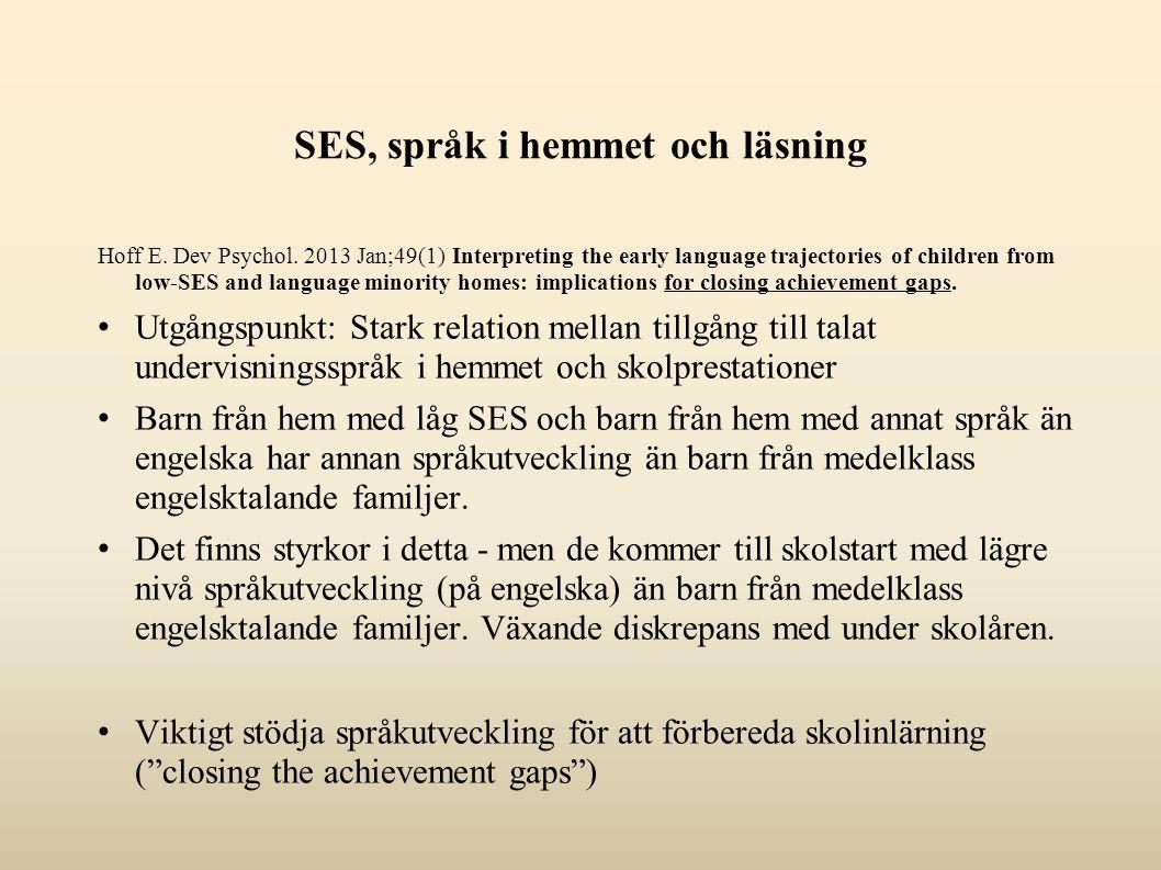 SES, språk i hemmet och läsning Hoff E. Dev Psychol.