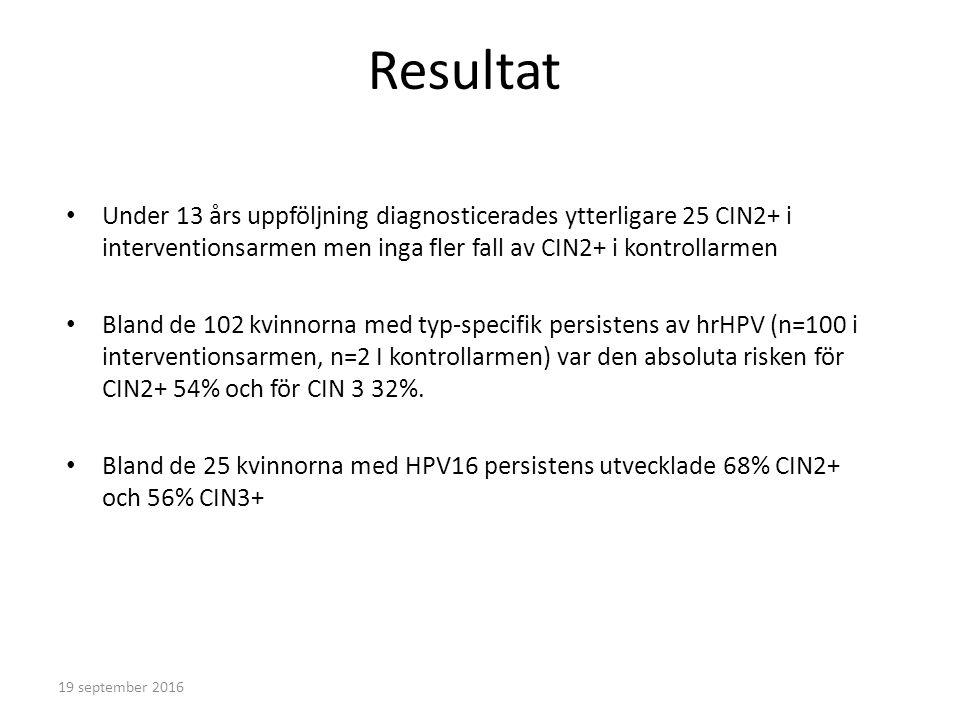 Resultat Under 13 års uppföljning diagnosticerades ytterligare 25 CIN2+ i interventionsarmen men inga fler fall av CIN2+ i kontrollarmen Bland de 102