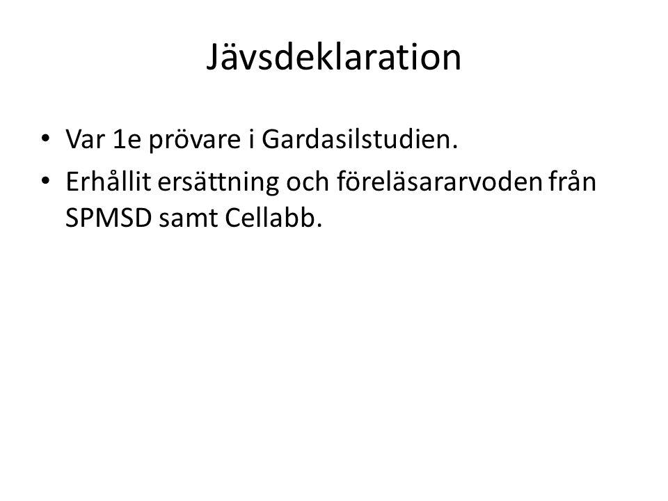 Jävsdeklaration Var 1e prövare i Gardasilstudien. Erhållit ersättning och föreläsararvoden från SPMSD samt Cellabb.