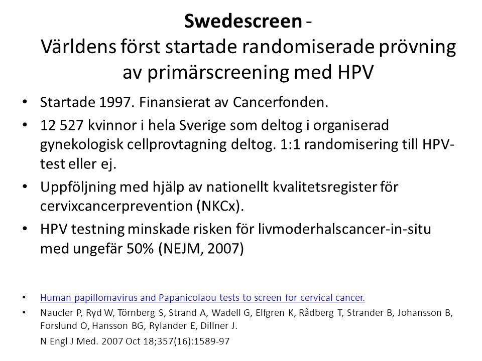 Ectocervical histopathology Intervention group: HPV persistence Population based Controls All HPV+ Benign50 (50 %)79 (83.2 %) 4+1* Koilocytosis7 (7.0 %)5 (5.3 %) 0 Atypia1 (1.0 %)1 (1.1 %) 0 CIN 112 (12.0 %) 6 (6.3 %) 0 CIN 212 (12.0 %) 1 (1.1%) 0 CIN 316 (16 %) 1 (1.1 %) 1* Missing diagnosis 2 (2.0 %) 2 (2.1 %) 0 Total10095 Kolposkopidata del 1 -Swedescreen: Kvinnor m typspecifik persistens (>12 mån, m 19 mån) och samma antal kvinnor från kontrollarmen inbjöds till kolposkopi Resultat: 28% av cytologi-neg, persisterande HPV-pos kvinnor hade en odiagnosticerad CIN 2/3 Kristina Elfgren et al, Am.