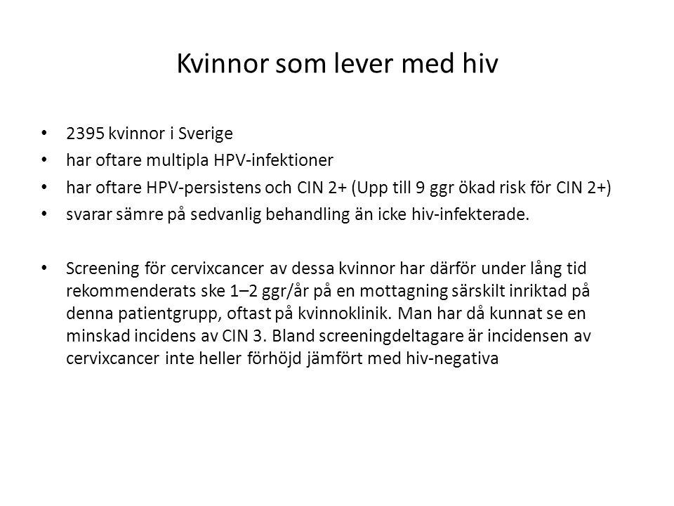 Kvinnor som lever med hiv 2395 kvinnor i Sverige har oftare multipla HPV-infektioner har oftare HPV-persistens och CIN 2+ (Upp till 9 ggr ökad risk fö