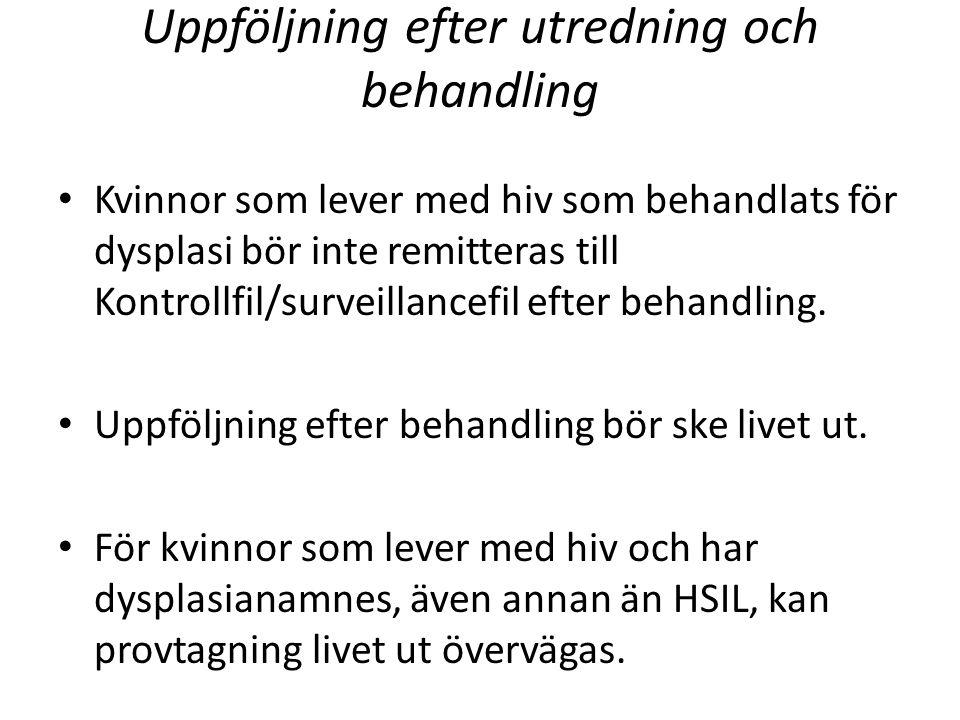 Uppföljning efter utredning och behandling Kvinnor som lever med hiv som behandlats för dysplasi bör inte remitteras till Kontrollfil/surveillancefil