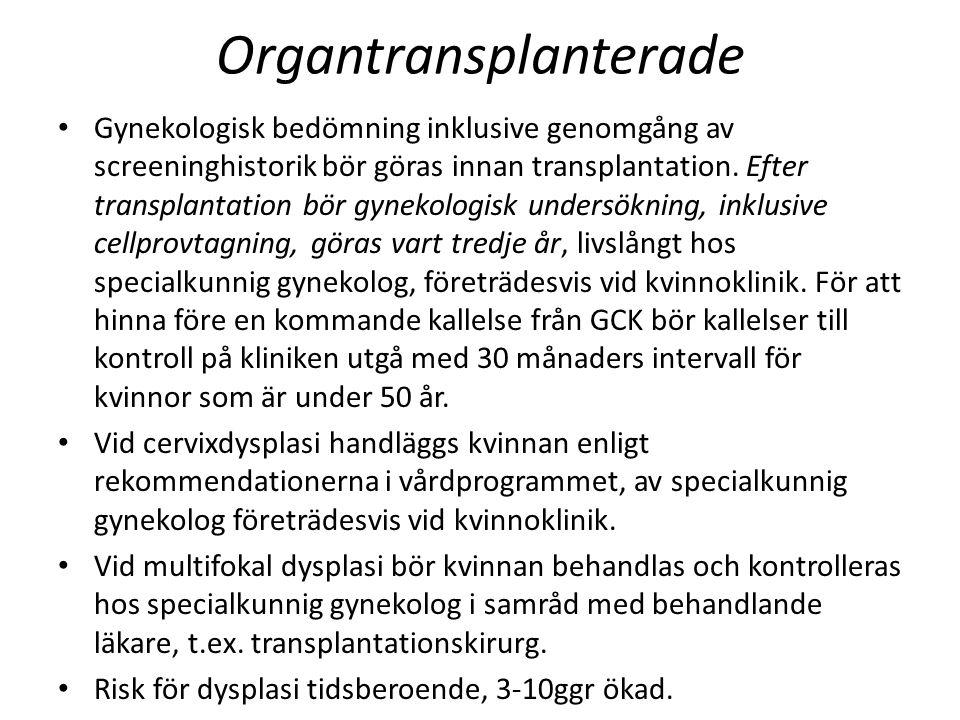 Organtransplanterade Gynekologisk bedömning inklusive genomgång av screeninghistorik bör göras innan transplantation. Efter transplantation bör gyneko