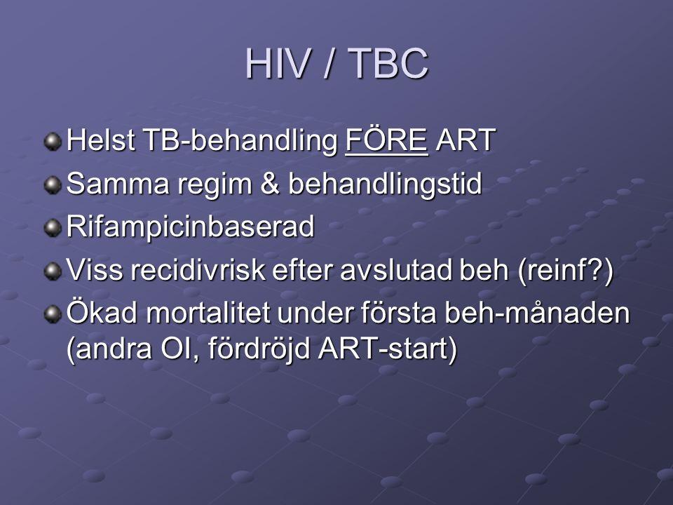 HIV / TBC Helst TB-behandling FÖRE ART Samma regim & behandlingstid Rifampicinbaserad Viss recidivrisk efter avslutad beh (reinf?) Ökad mortalitet under första beh-månaden (andra OI, fördröjd ART-start)