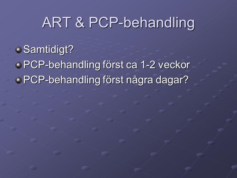ART & PCP-behandling Samtidigt? PCP-behandling först ca 1-2 veckor PCP-behandling först några dagar?