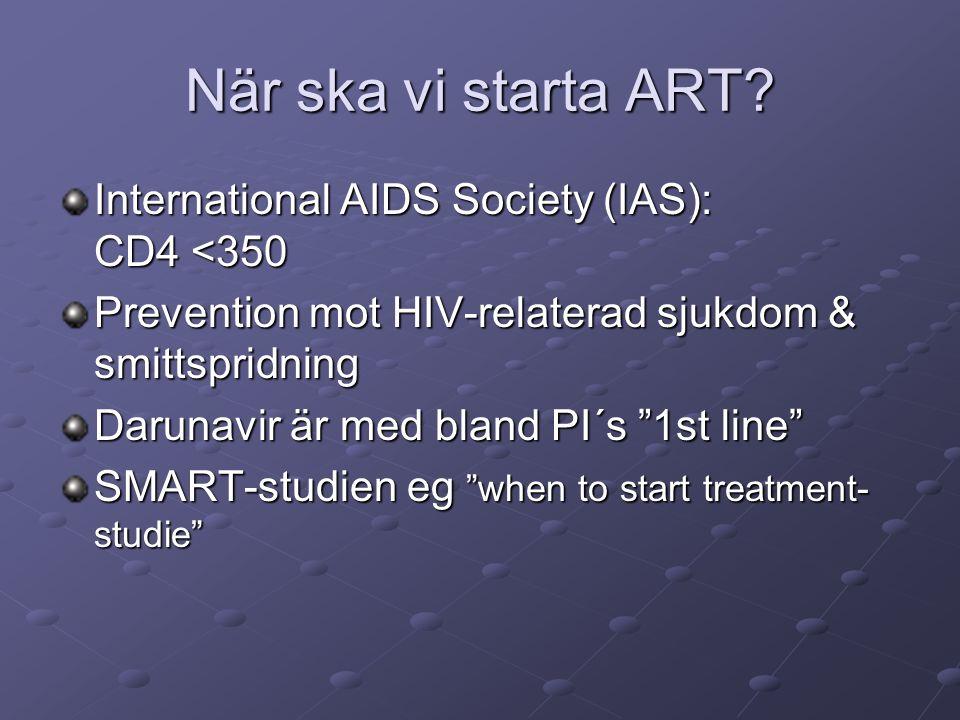 """När ska vi starta ART? International AIDS Society (IAS): CD4 <350 Prevention mot HIV-relaterad sjukdom & smittspridning Darunavir är med bland PI´s """"1"""