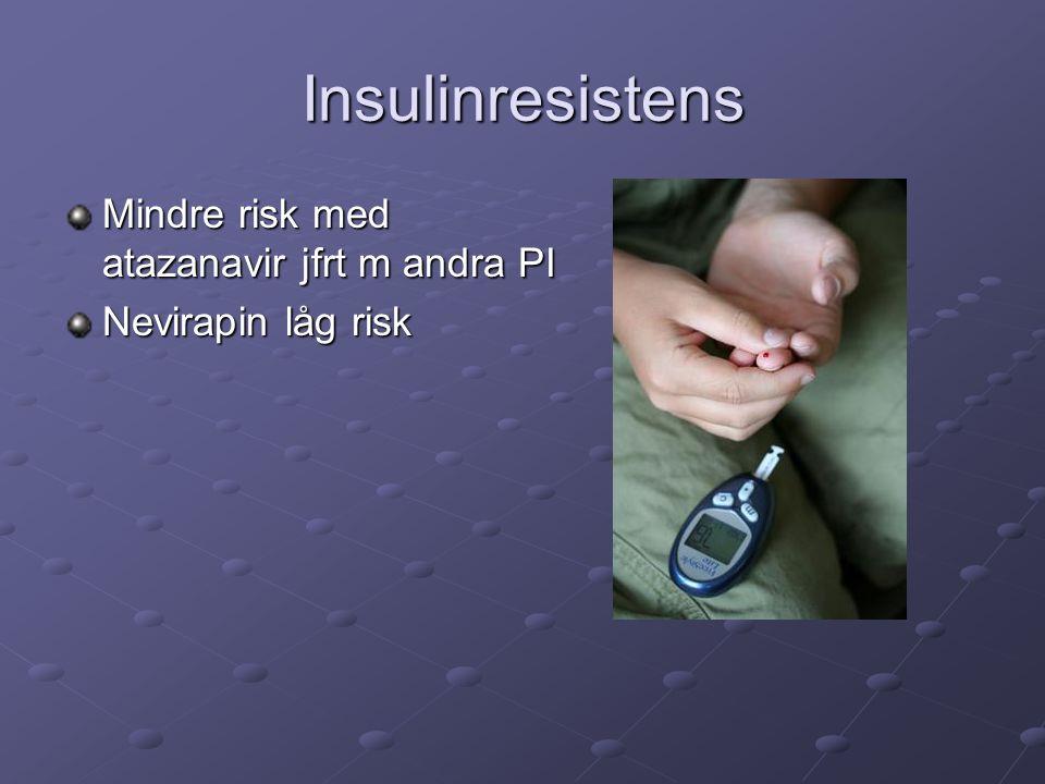Insulinresistens Mindre risk med atazanavir jfrt m andra PI Nevirapin låg risk