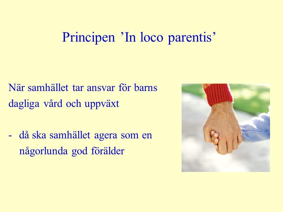 Principen 'In loco parentis' När samhället tar ansvar för barns dagliga vård och uppväxt -då ska samhället agera som en någorlunda god förälder