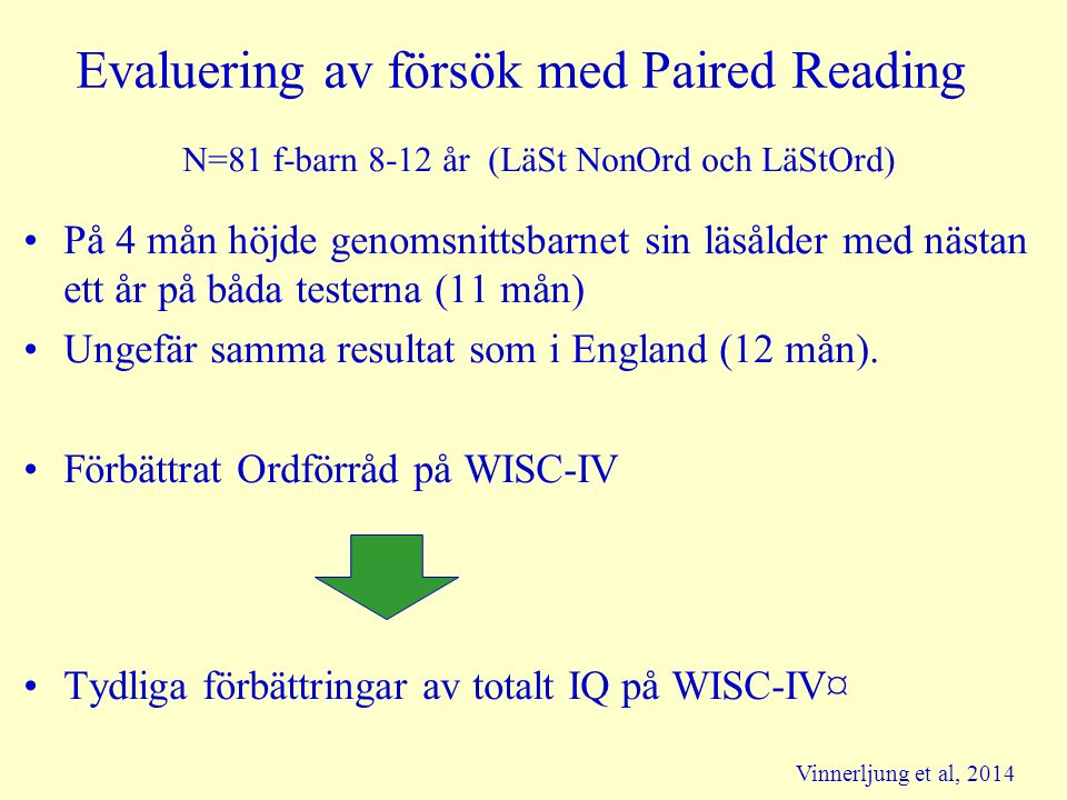 Evaluering av försök med Paired Reading N=81 f-barn 8-12 år (LäSt NonOrd och LäStOrd) På 4 mån höjde genomsnittsbarnet sin läsålder med nästan ett år på båda testerna (11 mån) Ungefär samma resultat som i England (12 mån).