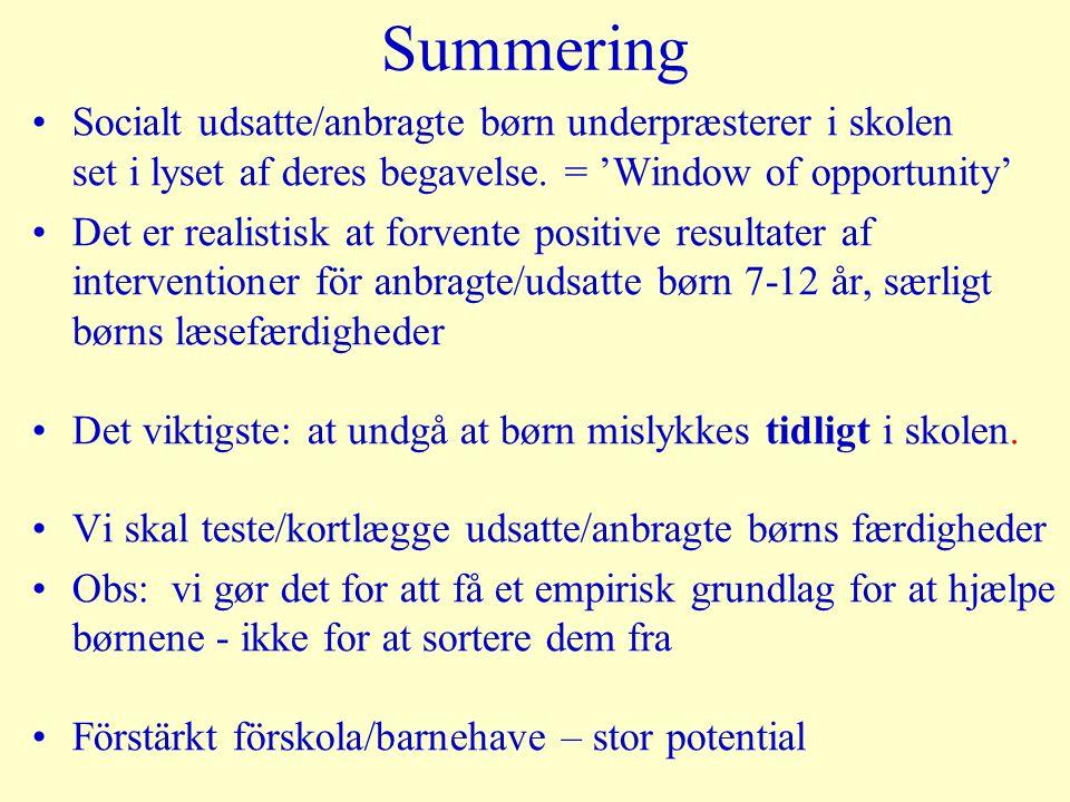 Summering Socialt udsatte/anbragte børn underpræsterer i skolen set i lyset af deres begavelse.
