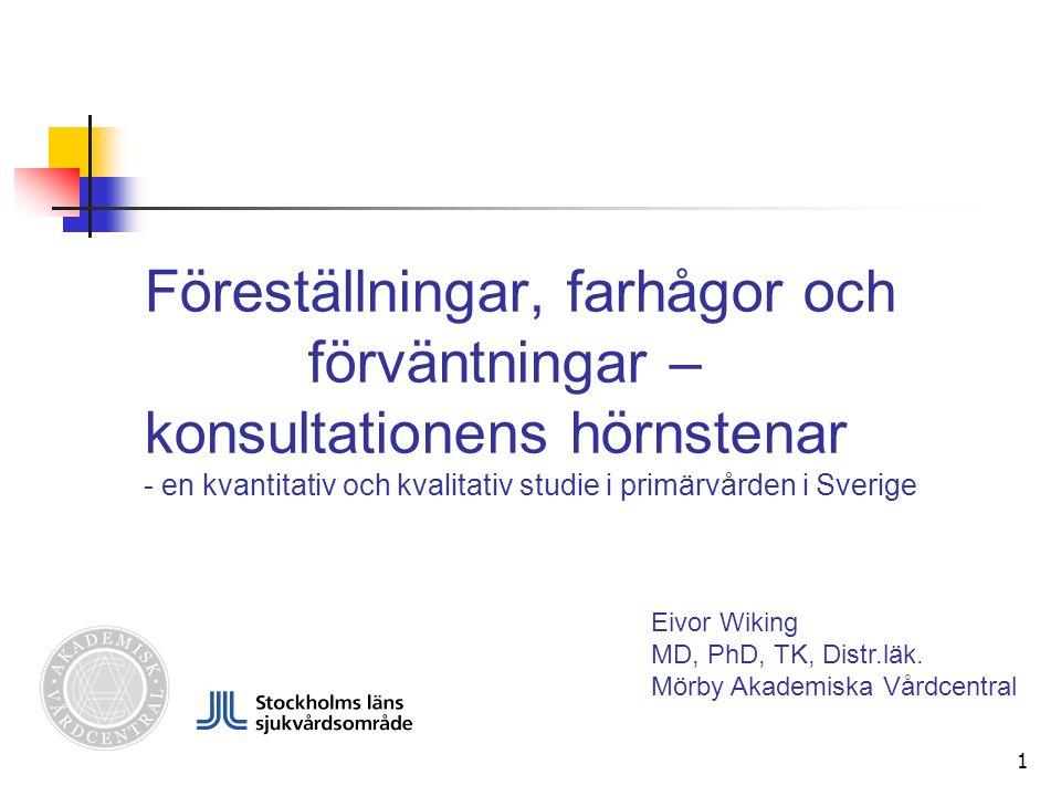 1 Föreställningar, farhågor och förväntningar – konsultationens hörnstenar - en kvantitativ och kvalitativ studie i primärvården i Sverige Eivor Wiking MD, PhD, TK, Distr.läk.