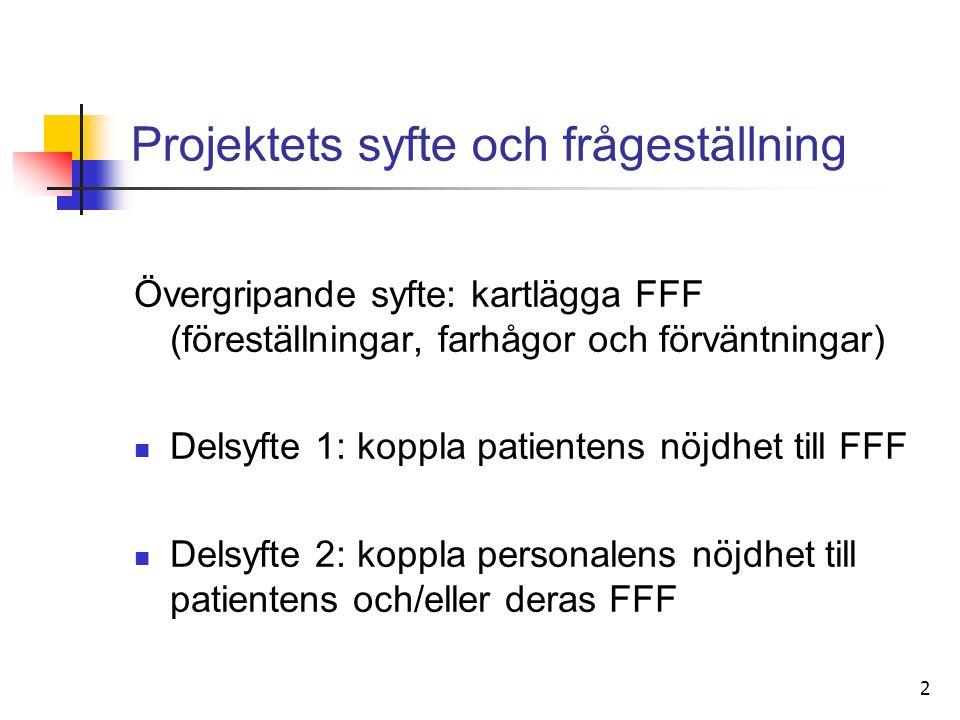2 Projektets syfte och frågeställning Övergripande syfte: kartlägga FFF (föreställningar, farhågor och förväntningar) Delsyfte 1: koppla patientens nöjdhet till FFF Delsyfte 2: koppla personalens nöjdhet till patientens och/eller deras FFF