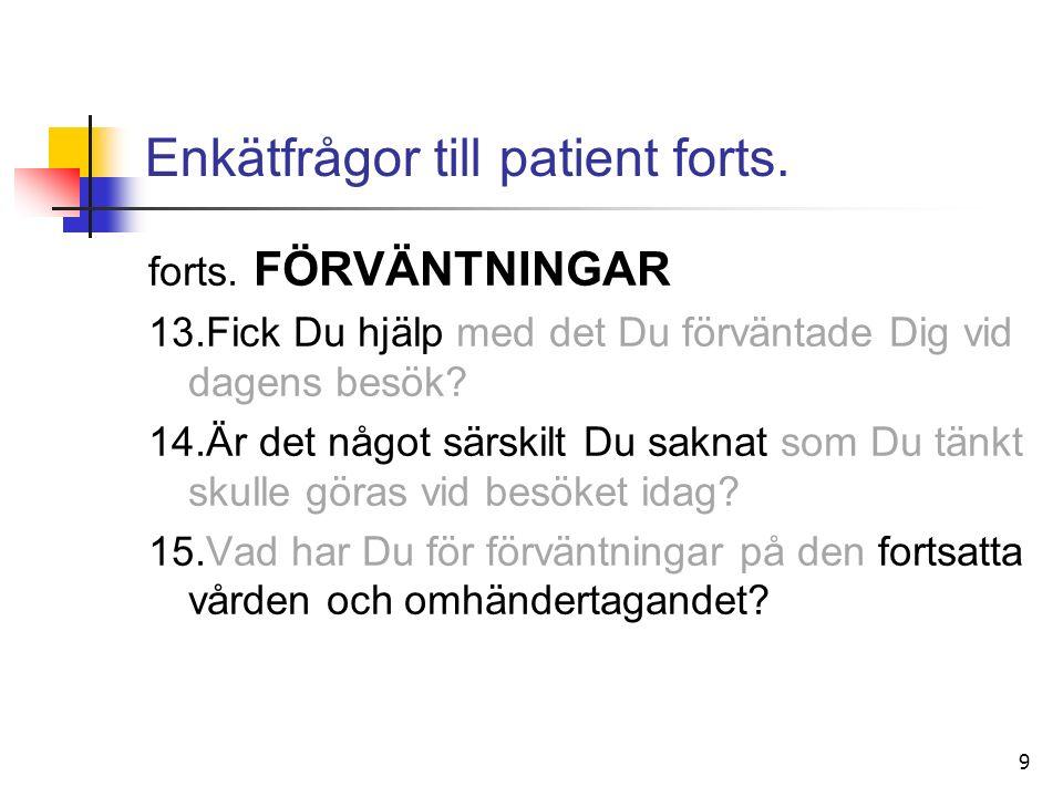 9 Enkätfrågor till patient forts. forts.