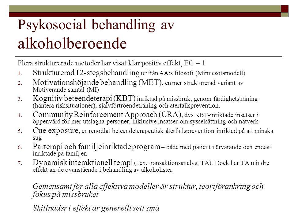 Psykosocial behandling av alkoholberoende Flera strukturerade metoder har visat klar positiv effekt, EG = 1 1.