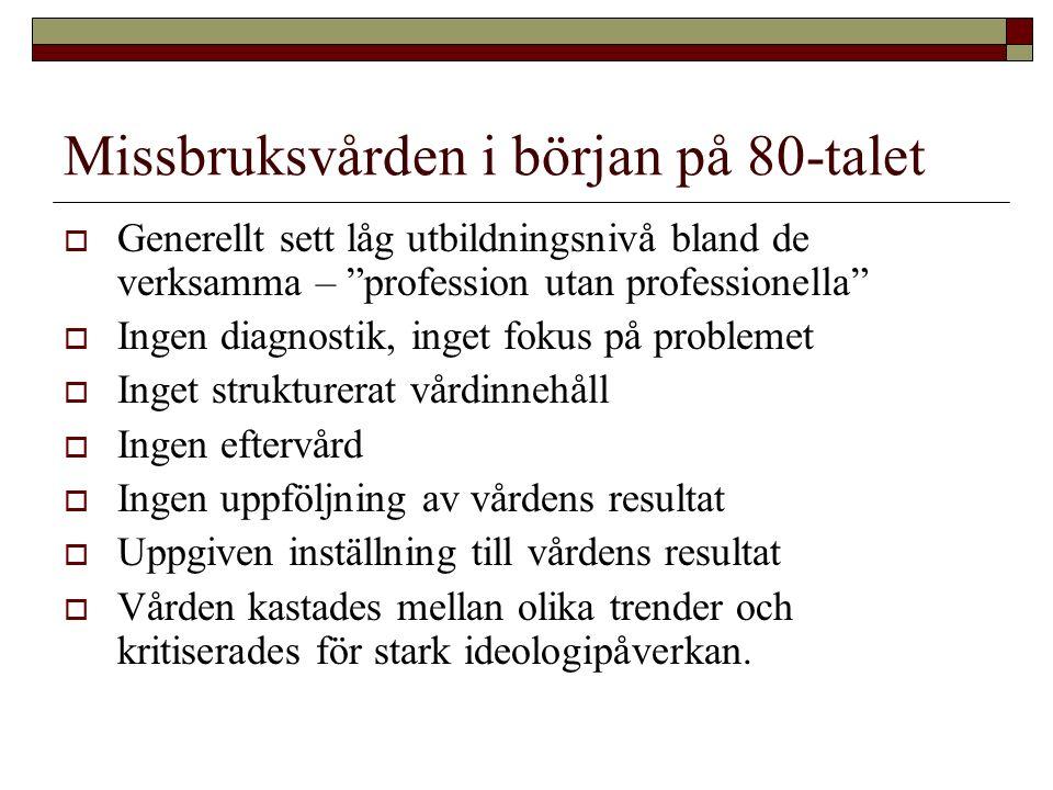 """Missbruksvården i början på 80-talet  Generellt sett låg utbildningsnivå bland de verksamma – """"profession utan professionella""""  Ingen diagnostik, in"""