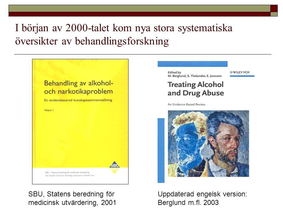 SBU, Statens beredning för medicinsk utvärdering, 2001 I början av 2000-talet kom nya stora systematiska översikter av behandlingsforskning Uppdaterad