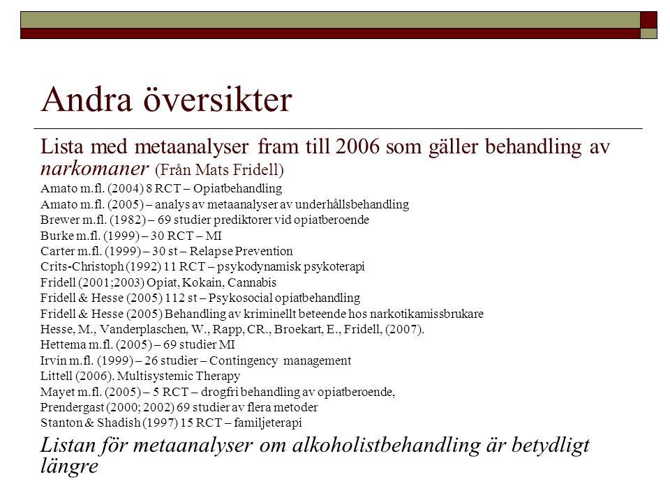 Andra översikter Lista med metaanalyser fram till 2006 som gäller behandling av narkomaner (Från Mats Fridell) Amato m.fl. (2004) 8 RCT – Opiatbehandl