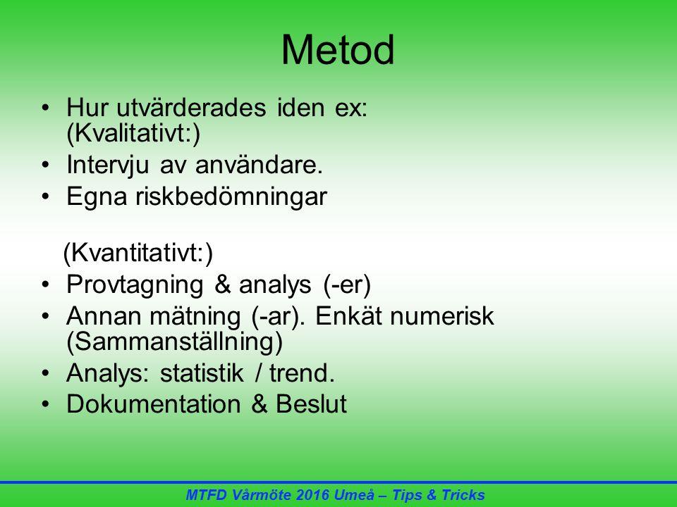 MTFD Vårmöte 2016 Umeå – Tips & Tricks Metod Hur utvärderades iden ex: (Kvalitativt:) Intervju av användare.