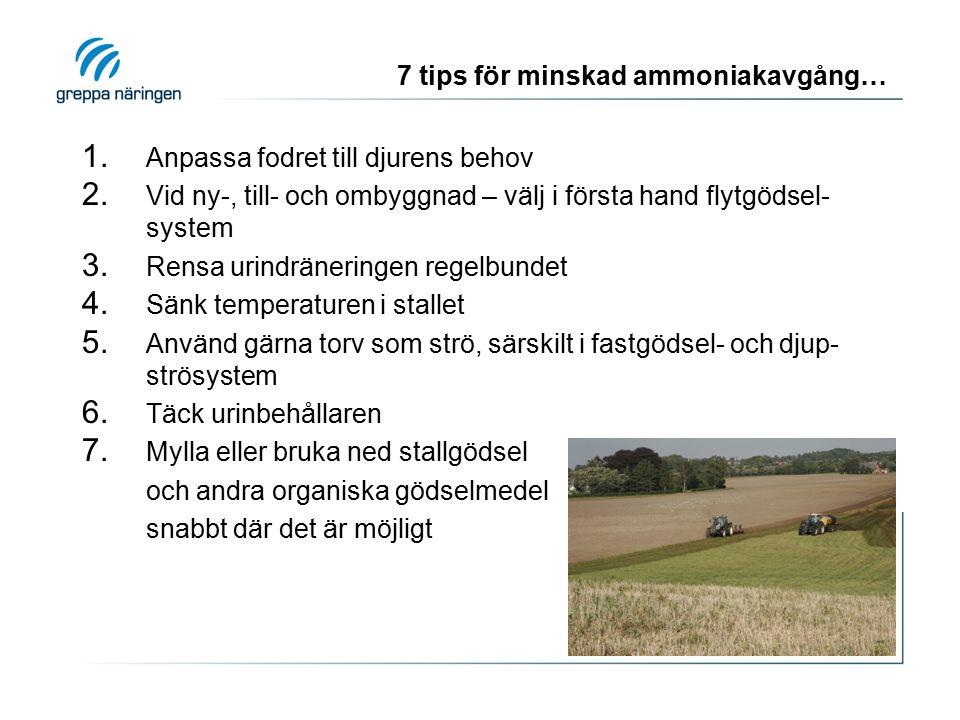 7 tips för minskad ammoniakavgång… 1. Anpassa fodret till djurens behov 2. Vid ny-, till- och ombyggnad – välj i första hand flytgödsel- system 3. Ren