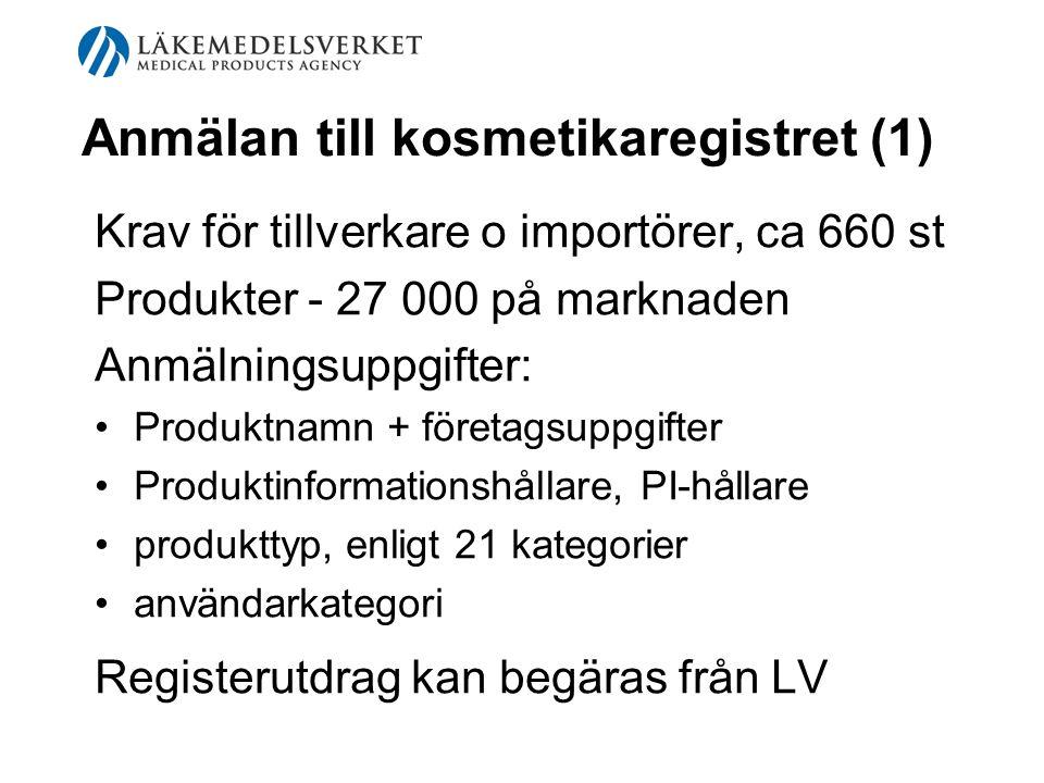 Anmälan till kosmetikaregistret (1) Krav för tillverkare o importörer, ca 660 st Produkter - 27 000 på marknaden Anmälningsuppgifter: Produktnamn + fö