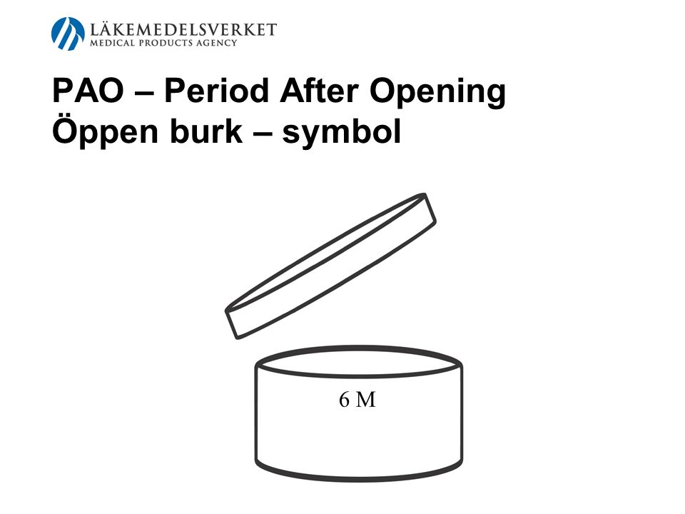 PAO – Period After Opening Öppen burk – symbol 6 M