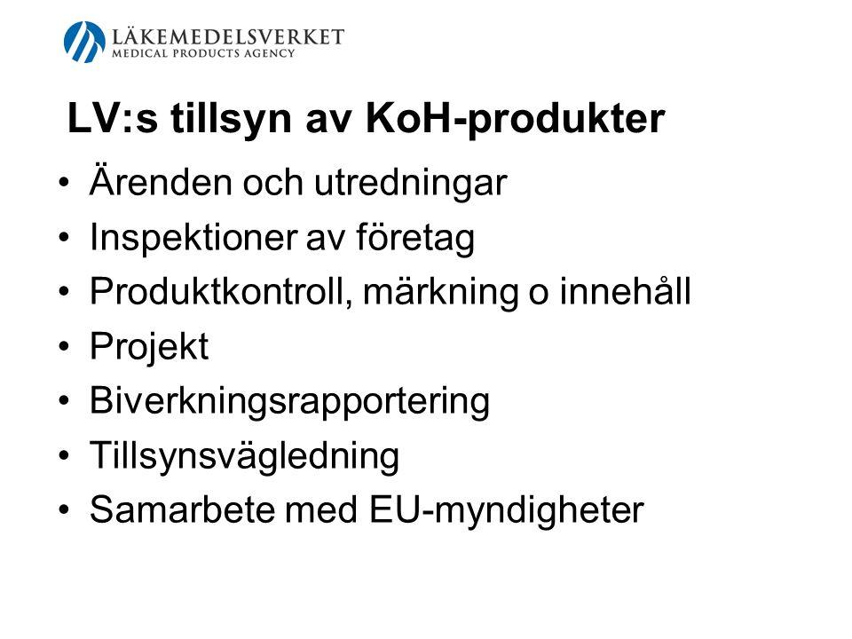 LV:s tillsyn av KoH-produkter Ärenden och utredningar Inspektioner av företag Produktkontroll, märkning o innehåll Projekt Biverkningsrapportering Til