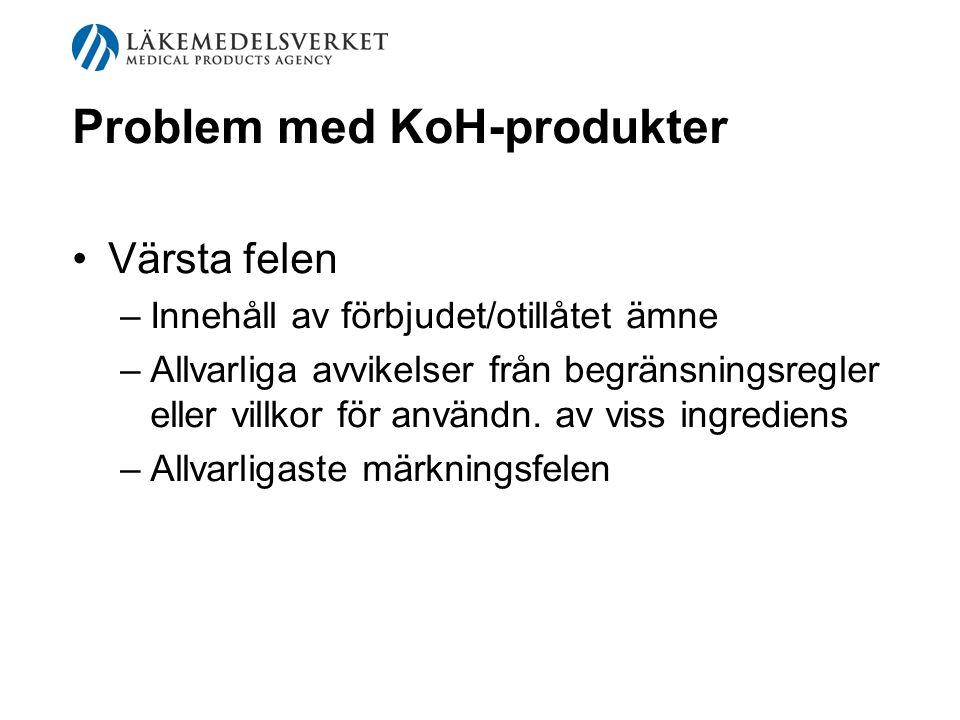 Problem med KoH-produkter Värsta felen –Innehåll av förbjudet/otillåtet ämne –Allvarliga avvikelser från begränsningsregler eller villkor för användn.
