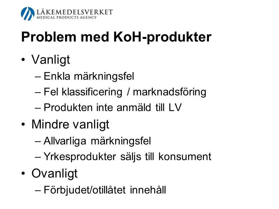 Problem med KoH-produkter Vanligt –Enkla märkningsfel –Fel klassificering / marknadsföring –Produkten inte anmäld till LV Mindre vanligt –Allvarliga m