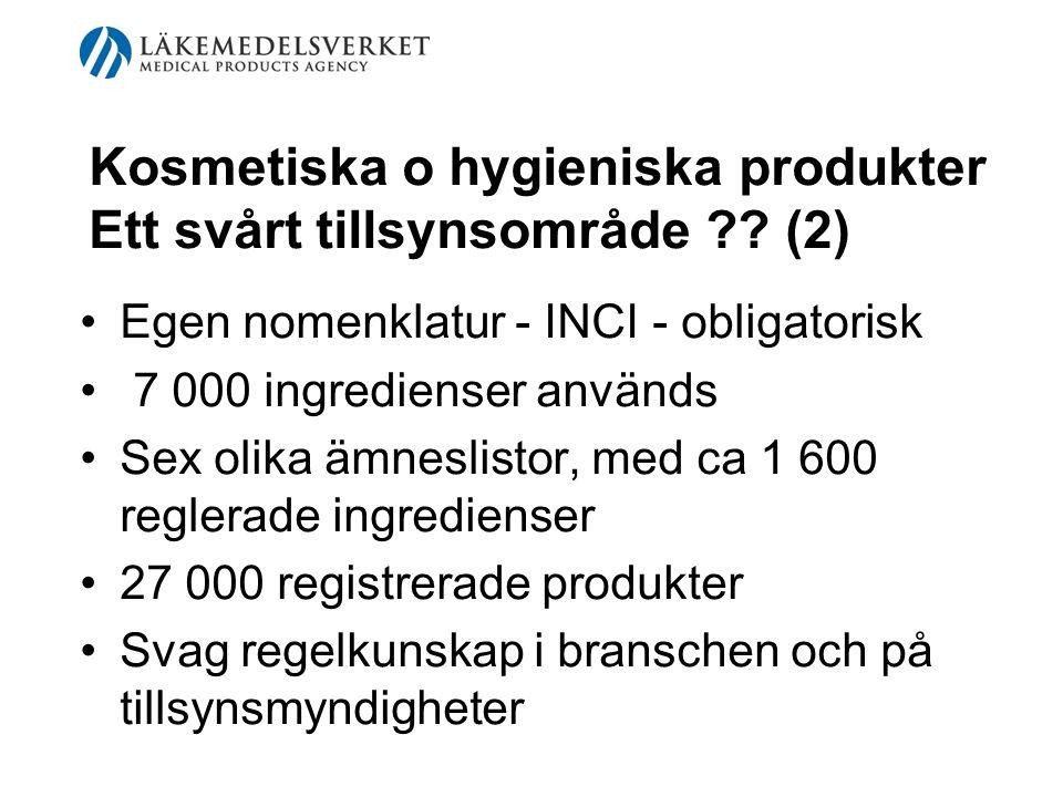 Kosmetiska o hygieniska produkter Ett svårt tillsynsområde ?? (2) Egen nomenklatur - INCI - obligatorisk 7 000 ingredienser används Sex olika ämneslis