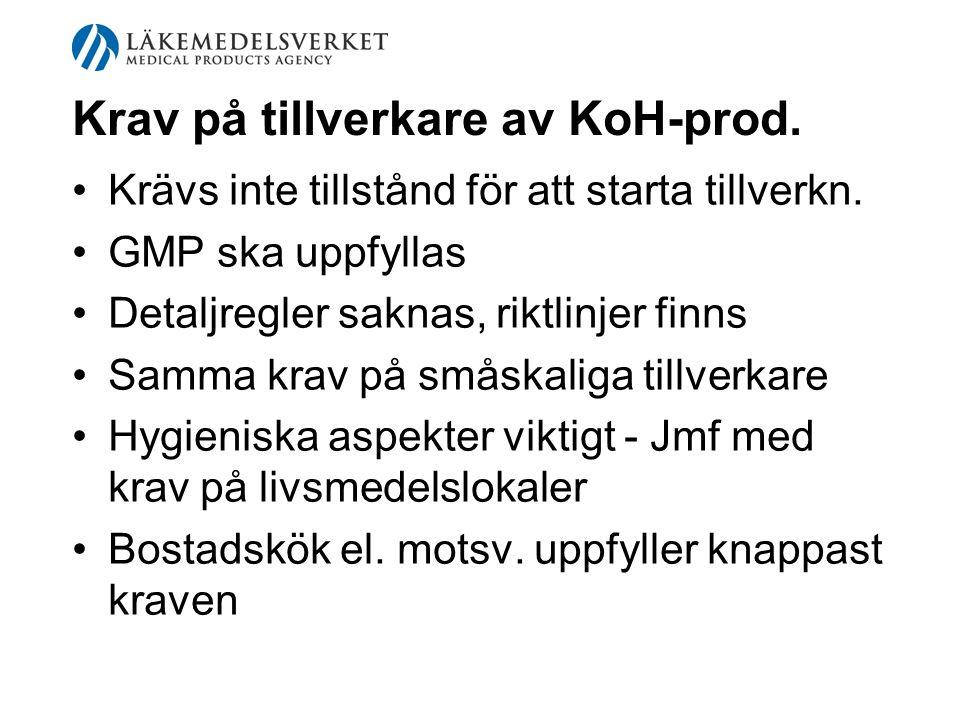 Krav på tillverkare av KoH-prod. Krävs inte tillstånd för att starta tillverkn. GMP ska uppfyllas Detaljregler saknas, riktlinjer finns Samma krav på