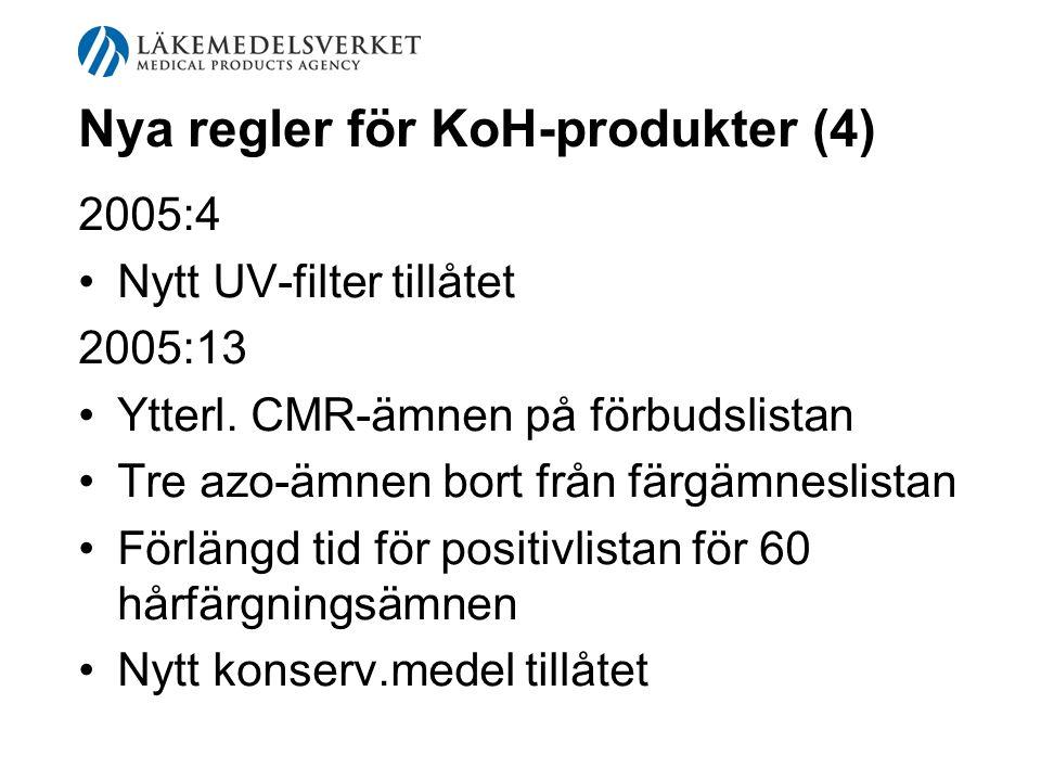 Nya regler för KoH-produkter (4) 2005:4 Nytt UV-filter tillåtet 2005:13 Ytterl. CMR-ämnen på förbudslistan Tre azo-ämnen bort från färgämneslistan För