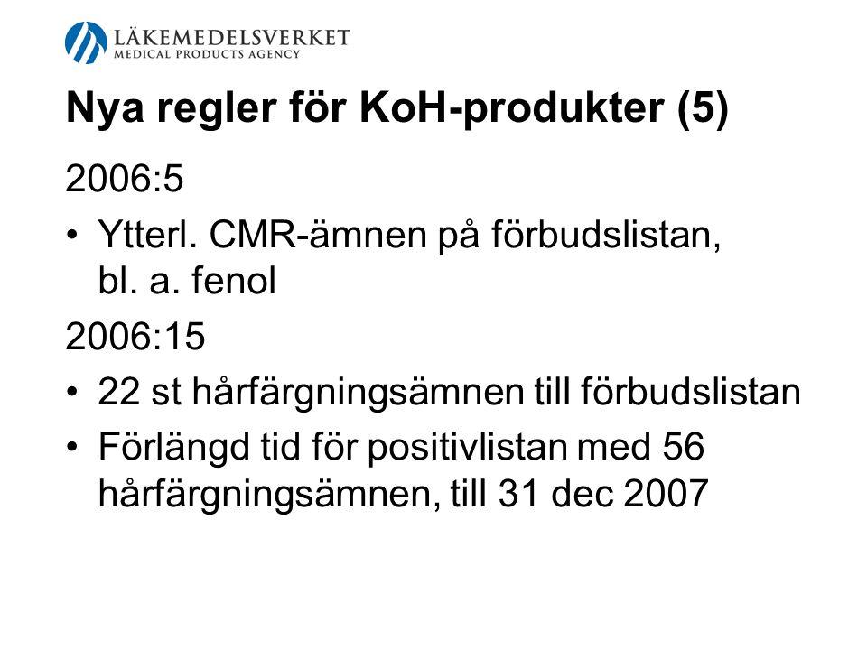 Nya regler för KoH-produkter (5) 2006:5 Ytterl. CMR-ämnen på förbudslistan, bl. a. fenol 2006:15 22 st hårfärgningsämnen till förbudslistan Förlängd t