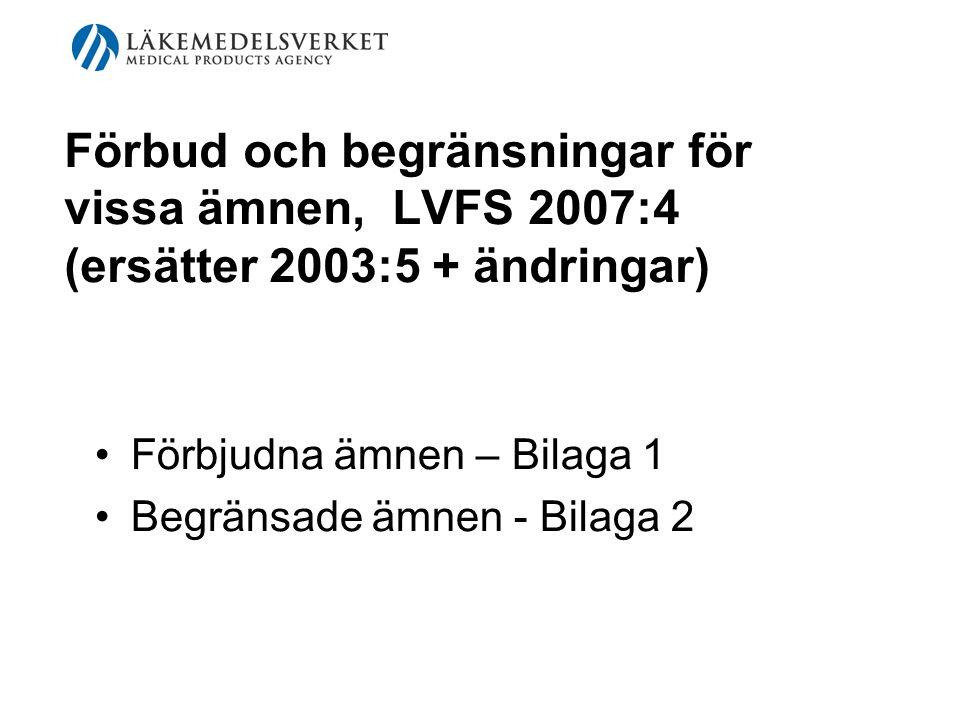 Förbud och begränsningar för vissa ämnen, LVFS 2007:4 (ersätter 2003:5 + ändringar) Förbjudna ämnen – Bilaga 1 Begränsade ämnen - Bilaga 2