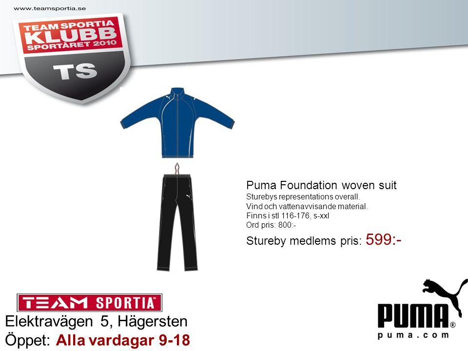 Elektravägen 5, Hägersten Öppet: Alla vardagar 9-18 Puma Foundation woven suit Sturebys representations overall. Vind och vattenavvisande material. Fi