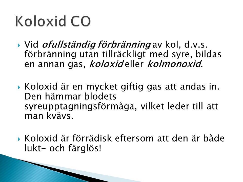  Kol ( C ) är ett grundämne som lätt brinner i syre.  Vid fullständig förbränning, d.v.s. förbränning med tillräcklig syretillförsel, bildas en gas,